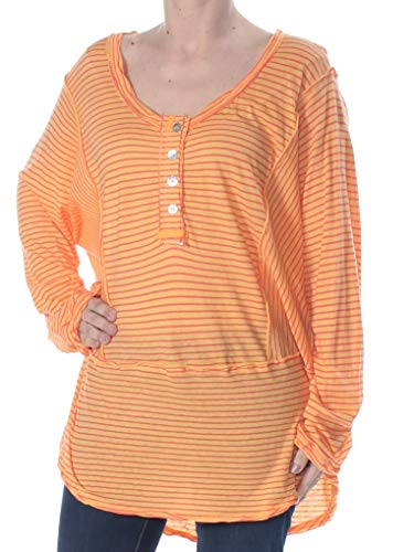 Free People Womens Hong Kong Striped Long Sleeves Henley Top Orange M