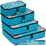 Packing Cubes | Travel Packing Cubes-by Evatex, 4pc Set with Shoe Bag |Laundry Bag (Marine Blue)