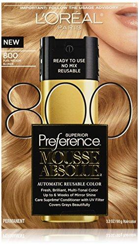 L'Oreal Paris Superior Preference Mousse Absolue, 800 Pure Medium Blonde (Best Mousse Hair Dye)