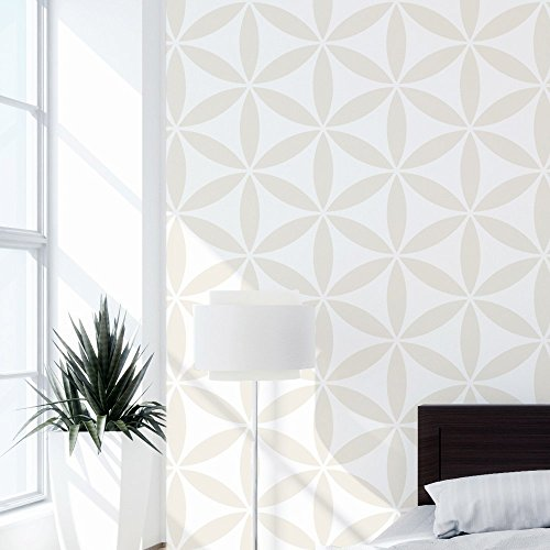 Flower of Life II Wall Stencil for Painting - Expedited 3 days Delivery - Geometric Wall Accent - Reusable Template - Large Mylar Washable Plastic - Repeatable Pattern for Wall Décor (Large Flower Paintings)