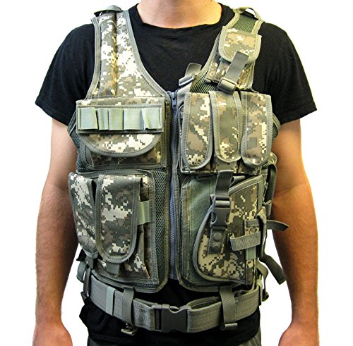Tactical Vest ACU Camo Camouflage for Army, Hunting, Police, SWAT with pistol / gun holster / pouches / by VIVO (VEST-V01A)