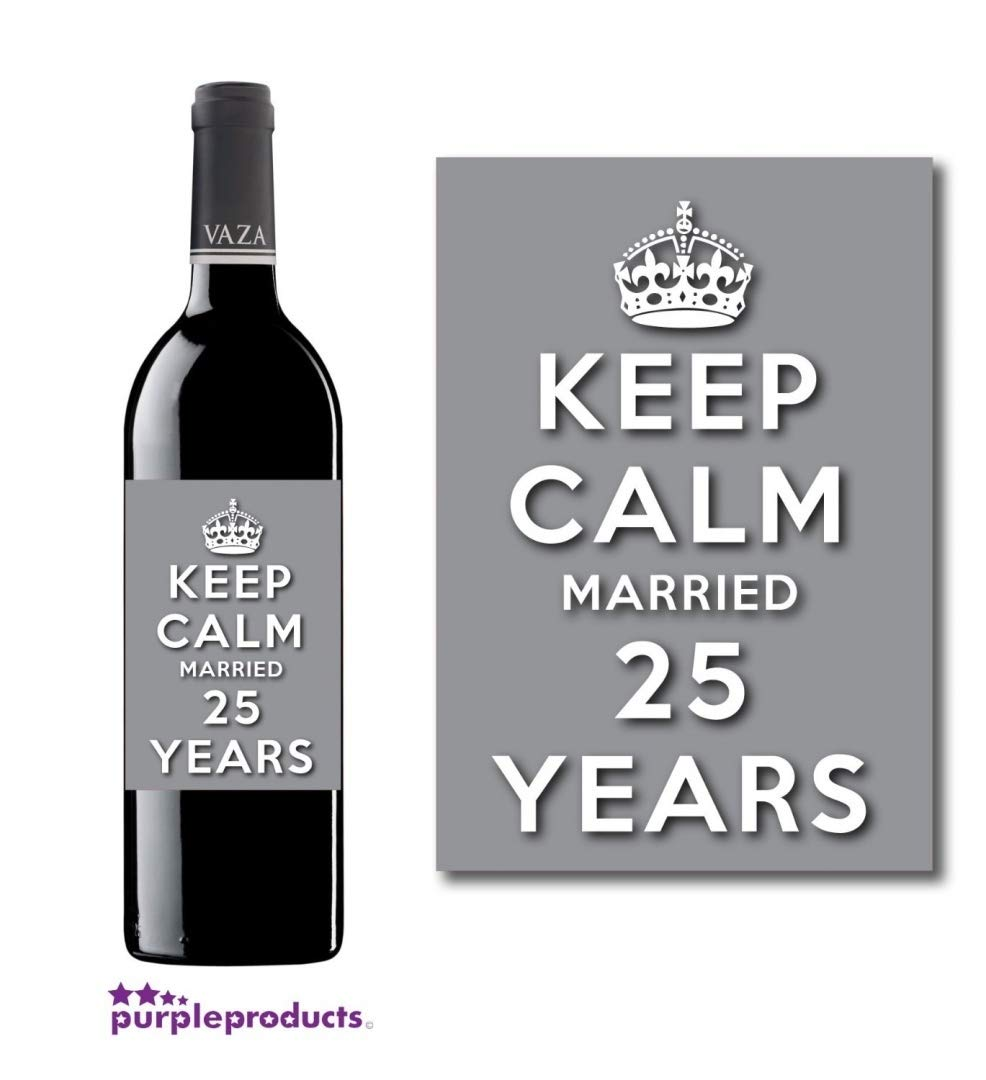 Keep Calm 25th Silver Wedding Anniversary Wine bottle label Celebration Gift for Women and Men.