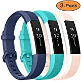 Vancle For Fitbit Alta HR Bands and Fitbit Alta bands, Newest Sport Replacement Wristbands with Secure Metal Buckle for Fitbit Alta HR/Fitbit Alta(blue teal blush-pink, Small)