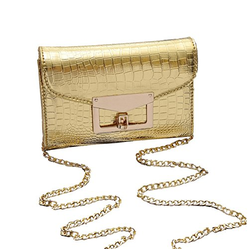 HIFISH HB125199C1 PU Leather Korean Style Women's Handbag,Square Cross-Section Lingge Chain Bag