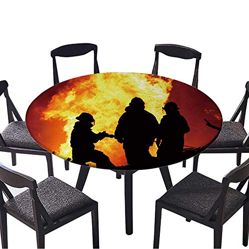 (Luxury Round Table Cloth for Home use Three Firemen Fighting a Raging fire with Huge Flames of Burning Timber for Buffet Table, Holiday Dinner 31.5
