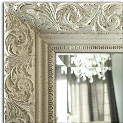 West Frames Bella Ornate Embossed Framed Wall Mirror 28.25 x 40.25 , Antique White