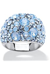 Blue and Aurora Borealis Crystal Stainless Steel Dome Ring Made with Swarovski Elements