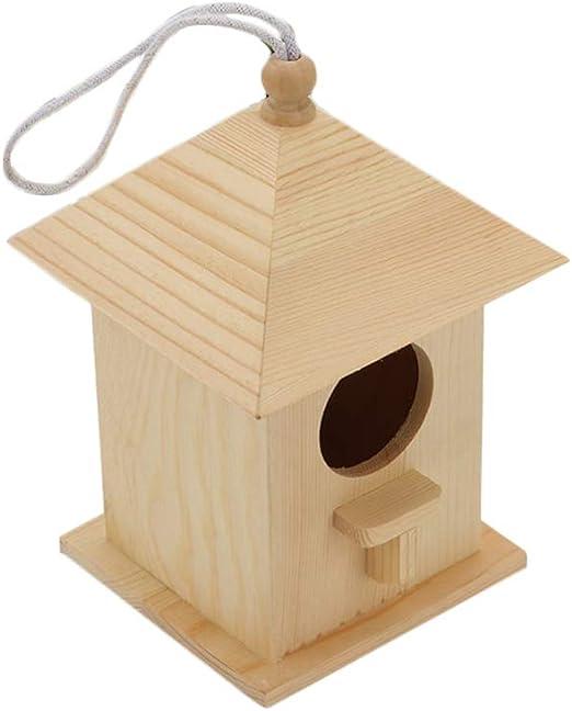 POPETPOP Casas para Pájaros en El Exterior - Pajarera de Madera para Jardín Al Aire Libre Jardín Porche Patio Decoración Campestre Colgante O de Mesa: Amazon.es: Productos para mascotas