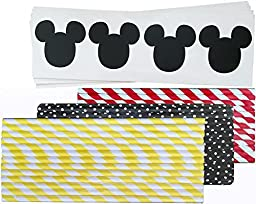 Outside the Box Papers Mickey Mouse Vinyl Chalkboard Labels - 60 Pack Mickey Mouse Themed Paper Straws Red, White, Black, Yellow - 75