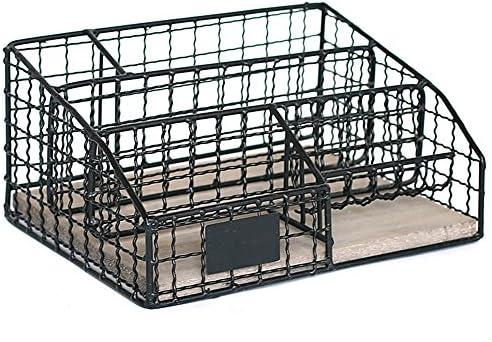 YBWEN-OSB Aufbewahrungsbox für Büromaterial Mehrschicht-Bürozubehör Aufbewahrungsbox Aktenablage Desktop-Schreibwaren-Endbearbeitungskorb Ablagekorb (Farbe : Black)