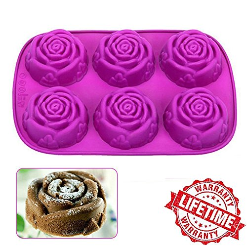 IC ICLOVER 6 Cavity Food Grade Silicone Rose Shape Cake Mold Chocolate Soap Mold Baking Pan Bakeware Idea for Mom Mother's Day Gift -Purple (Chocolates For Mothers Day)