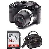 Kodak PIXPRO AZ252 Point & Shoot Digital Camera with 3' LCD (Black) and 16GB SD Card and Case