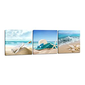 Pyradecor 3 Panels Starfish Seashell Bottle Beach Pictures on Canvas Wall Art Modern Seascape Stretched and Framed Giclee Canvas Prints Seaview Landscape Artwork for Bedroom Home Office Decorations