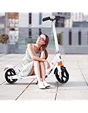 Kids/Adult Scooter with 3 Seconds Easy-Folding System, 220lb Folding Adjustable Scooter with Disc Brake and 200mm Large Wheels (White)
