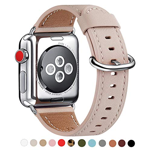 WFEAGL Compatible with iWatch Band 38mm 40mm 42mm 44mm, Top Grain Leather Band for iWatch Series 4/3/2/1,Sport, Edition (Pink Sand/Silver, 38mm 40mm)