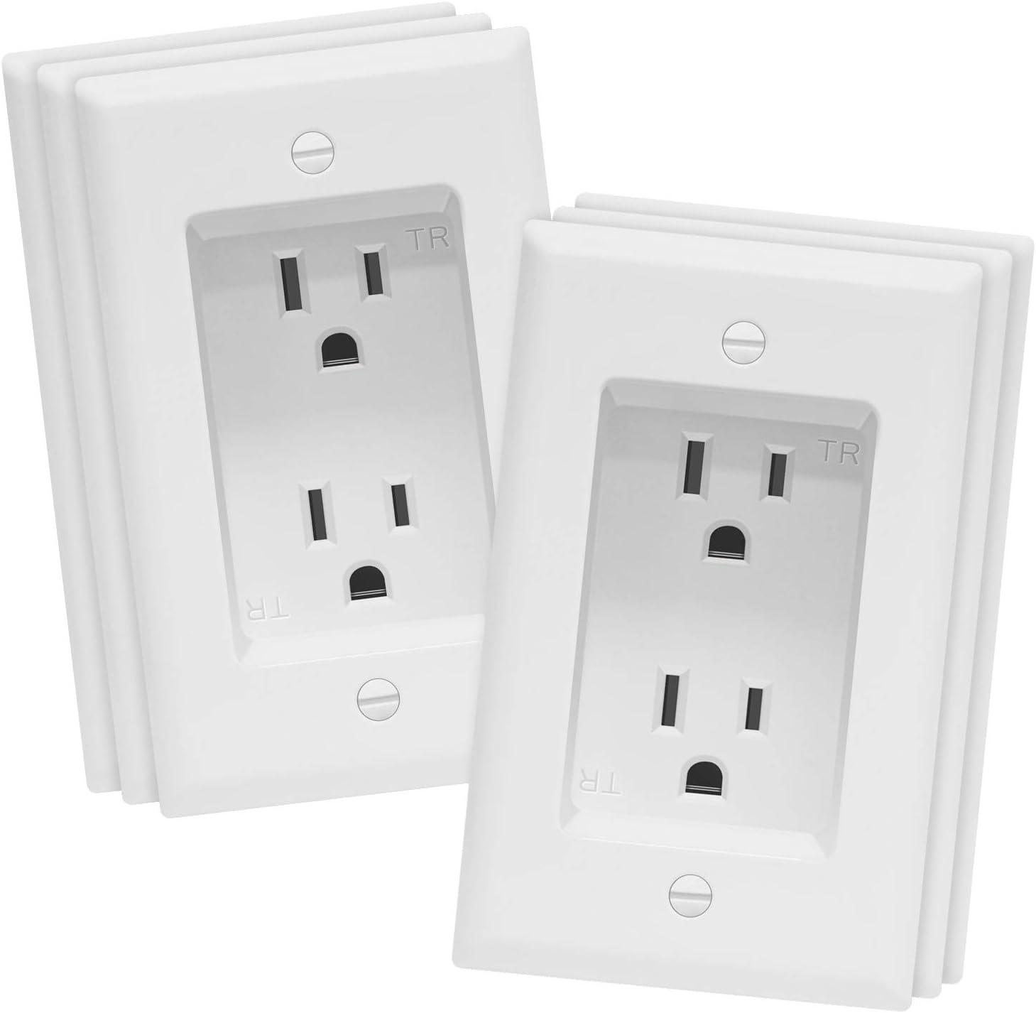 "TOPGREENER Recessed Duplex Receptacle Outlet, Tamper-Resistant, Size 1-Gang 4.48"" x 2.76"", 15A 125V, TG15RD31-6PCS, White (6 Pack)"