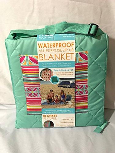 [Steve Elliots High Tide Collection Outdoor Zipper Blanket, Bijoux Stripe 84 inch X84 inch] (Steve Stripe)