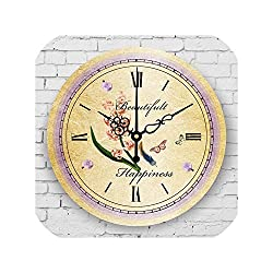 Living Room Decoration Wall Clock Mute Wall Clock Vintage Home Decor Large Wall Clock,Style 14,16 Inch