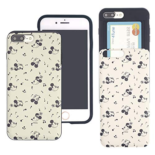 iPhone 6S / iPhone 6 Case Disney Cute Slim Slider Cover : Card Slot Shock Absorption Dual Layer Holder Bumper for [ iPhone6S / iPhone6 (4.7inch) ] Case - Vintage Pattern Mickey Minnie