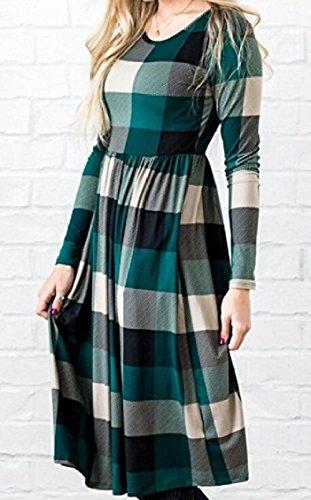 Jaycargogo Sleeve Long Womens with Plaids Casual High Dress 1 Pockets Waist Long CqgtqpnB