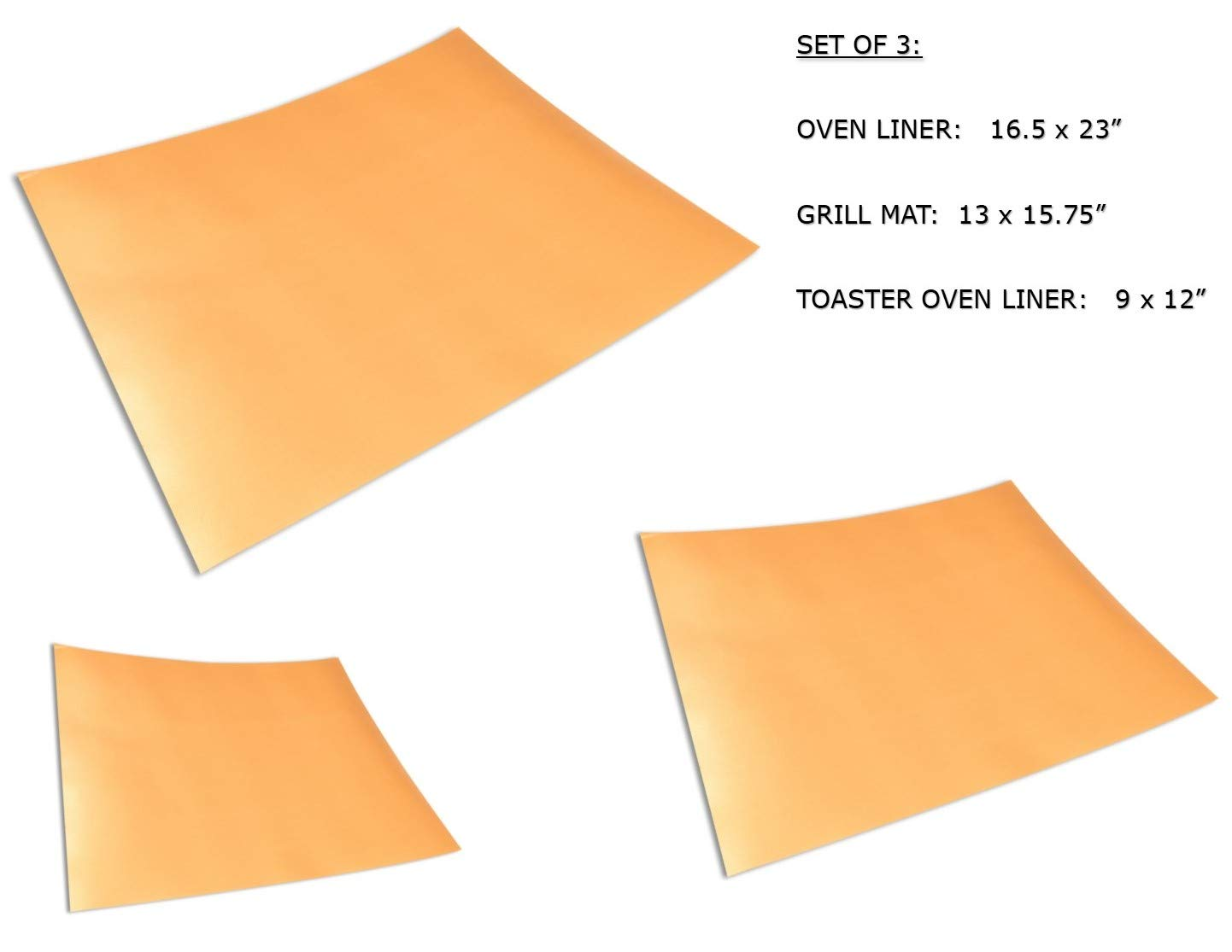 Cooks Innovations Copper Grill & Bake Mats (3 sizes) - Use on the grill, in oven & toaster oven. 100% Non-Stick.