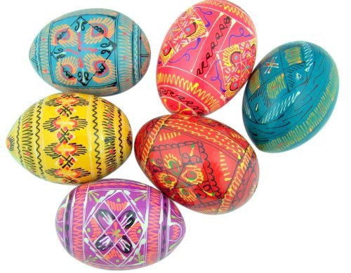 (Religious Gifts Authentic Set of 6 Ukrainian Wooden Pysanky Pysanki Wood Easter Eggs)