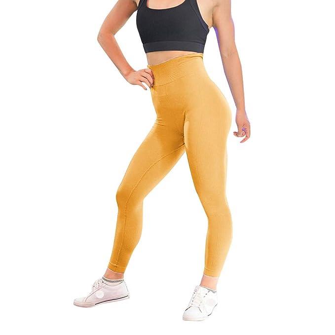 Lunule Mujer Cintura Alta Pantalones Yoga elásticos Push up ...