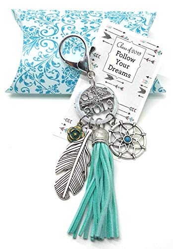 Dragon Key - Charmed By Dragons Graduation Gift Class of 2019 Keychain with Tassel Feather and Dreamcatcher in Damask Gift Box