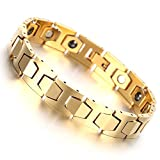 Men's Gold Tungsten Magnetic Therapy Germanium Link Bracelet for Arthritis Pain Relief