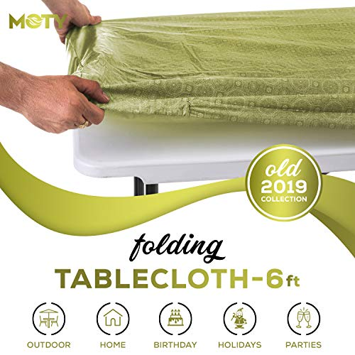 Tablecloth for Folding Table -Fitted Rectangular Table Cloth for 6 Foot, Size 32 x 72 inch - (180 x 75 cm), Plastic Vinyl Flannel Backed, Elastic Rim- for Christmas, Parties, Picnic Table, waterproof,