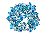 Alilang Sapphire Blue Crystal Rhinestone Floral Wreath Brooch Pin