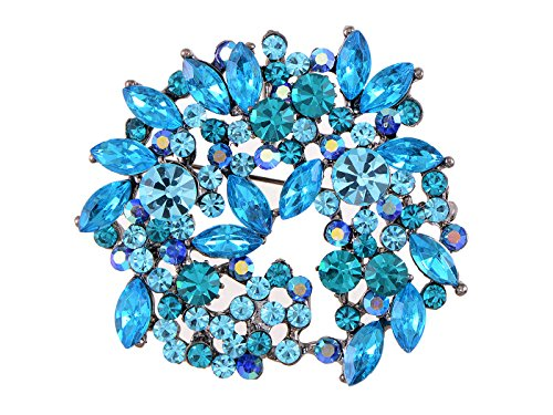 Alilang Sapphire Blue Crystal Rhinestone Floral Wreath Brooch Pin
