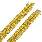 The Bling Factory Men's 14k Gold Plated 2-Row Iced Out Hip Hop Chain with Canary Yellow Cubic Zirconia, 30'' + Jewelry Cloth