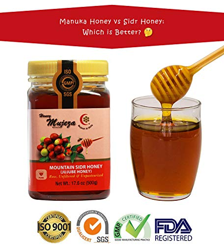 Authentic Mountain Sidr Honey - Jujube Honey, Equal to Manuka Effectiveness Unheated Unfiltered Unprocessed 100% Natural Raw Honey (Different Sizes Available) (500g / 17.6oz)