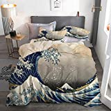 ECOMAOMI Duvet Cover Set Full/Queen,Great Wave