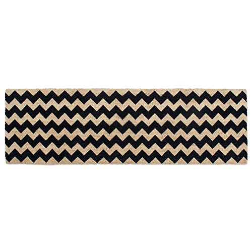 DII Double Black Chevron Doormat, 18x60
