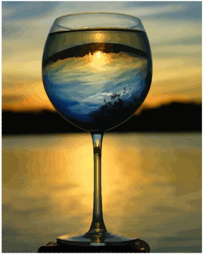 dise/ño de Copa de Vino Pintura al /óleo Digital por n/úmeros Wubxbvvx Lienzo de Pared sin Marco