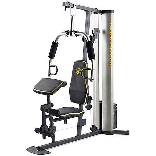 XR 55 Home Exercise Gold s Gym, weight stack, padded seat, preacher pad, chart