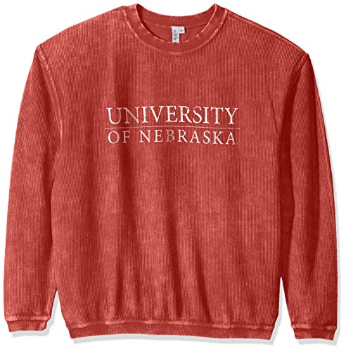 - chicka-d NCAA Officially Licensed University of Nebraska Ladies Corded Crew Sweatshirt/Oversized Sweater- Nebraska Cornhuskers Women's Apparel