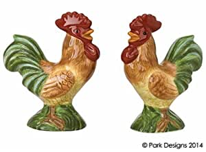 Free Serving Salt & Pepper Shaker Tuscany Italy Style Hand Painted Rooster Shape Dolomite Ceramic Country Home Décor