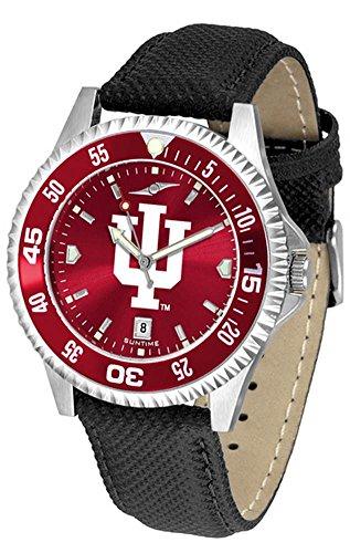 (Indiana University Hoosiers Leather Watch Suntime AnoChrome Logo Timepiece)