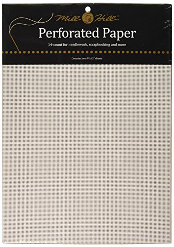 Mill Hill 14 Count Perforated Paper, 9 by 12-Inch, White, 2 Per Package Perforated Sewing