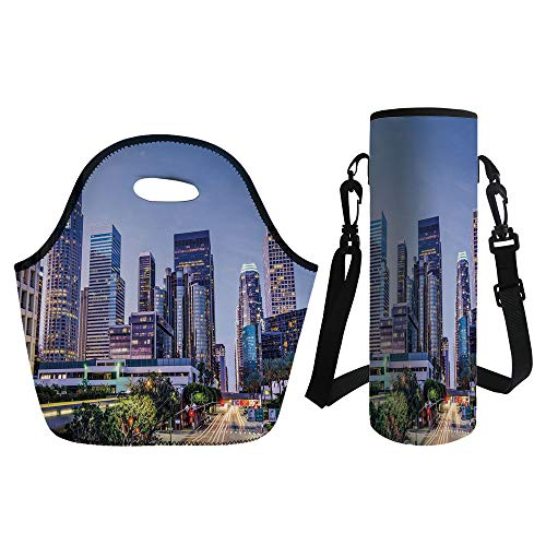 3D Print Neoprene lunch Bag with Kit Neoprene Bottle Cover,City,Los Angles California Skyline Urban USA Cityscape Skyscrapers Highway Avenue Trees,Multicolor,for Adults (Handle Sweat Angle)