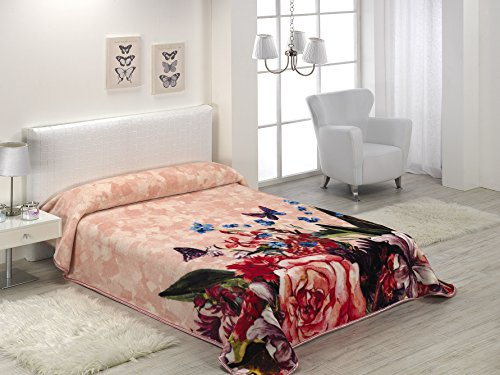 European - Made in Spain warm blanket 4 PC Mora Gold Digital Rose Color by MORA Blankets
