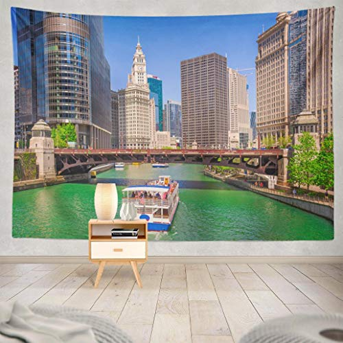 Cruise Wall Tapestry,Tapestry Wall Art USA Sightseeing Skyline River Cruise Architecture Landscape Wall Tapestry for Bedroom Living Room Dorm Decor 60x80 Inches, USA Sightseeing (Best Chicago River Cruise Architecture)