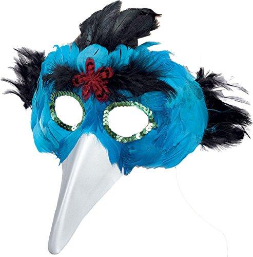 Halloween Masquerade Eye Fancy Dress Party Turquoise Bird Feather Mask & Beak