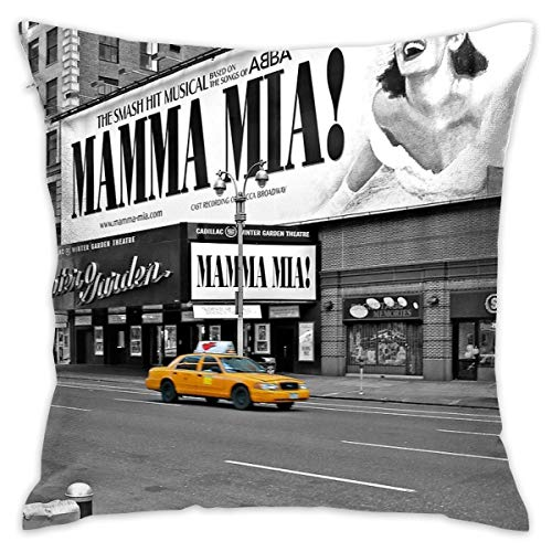 Yoate Co. NYC Yellow Cabs Mamma Mia Home Decorative Throw Pillow Case Cushion Cover for Gift Home Couch Bed Car 18