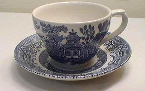 Blue Willow Cup - Churchill Blue Willow Flat Cup and Saucers - Set of 4