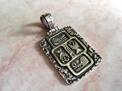 Native American Indian Symbols Massive Pendant Dragon Serpent Motives Inca Maya Aztecs Sterling Silver 925 Yellow Gold White Very detailed Appalachians Men Handmade Handcrafted Traditional