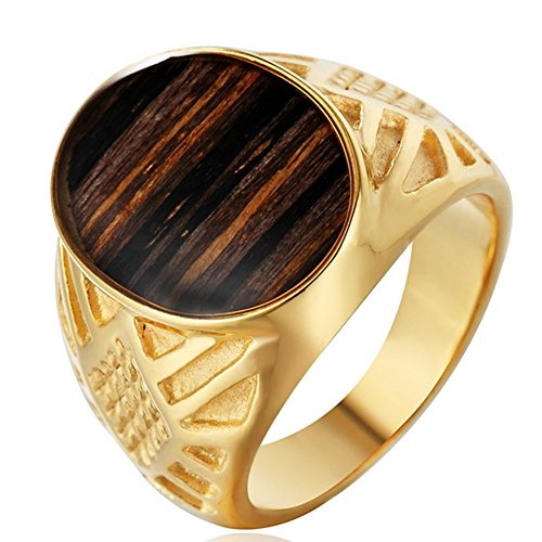 Men's Classic Stainless Steel Wedding Band Rings Wood Stripes Oval Signet Rings Gold Size (Gold Oval Signet Ring)